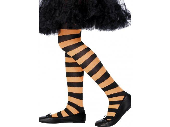 Dětské punčocháče pruhované černo-oranžové (6-12 let)