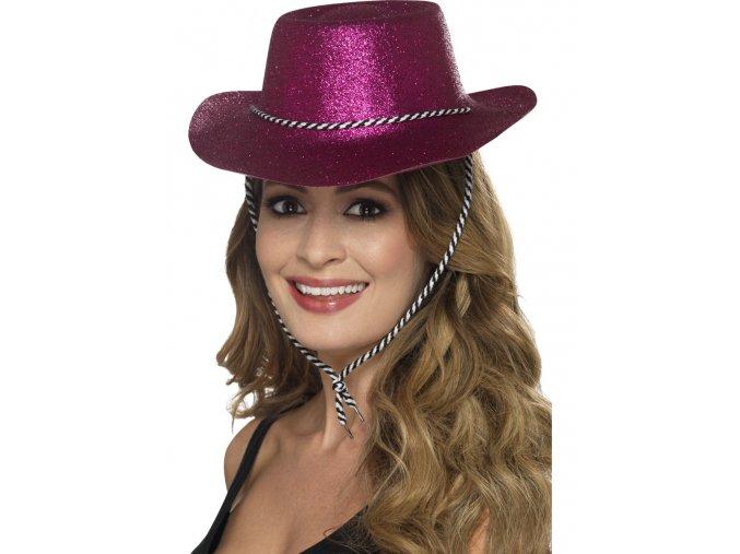 Kovbojský klobouk růžový třpytivý