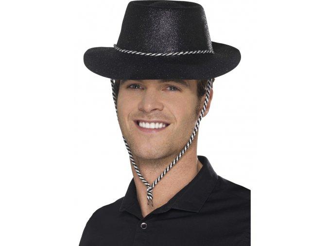 Kovbojský klobouk černý třpytivý