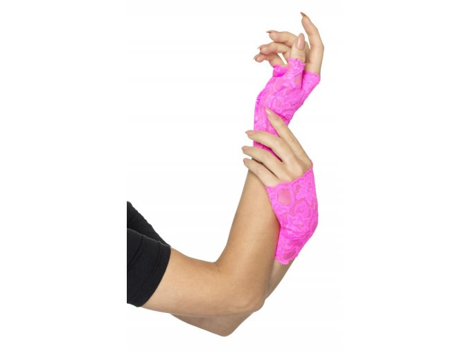 Krajkové rukavice bez prstů růžová Neon