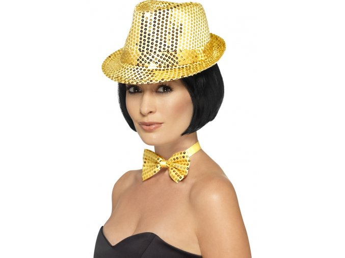 Flitrový klobouk zlatý