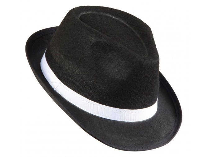 Černý fedora klobouk s bílou stuhou