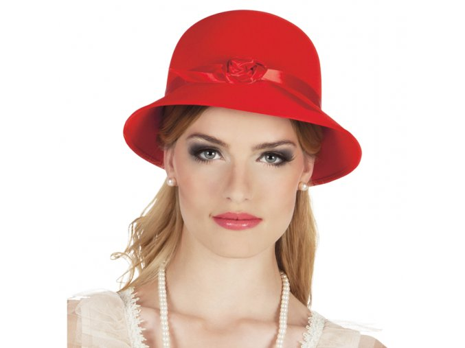 Dámský retro klobouk červený