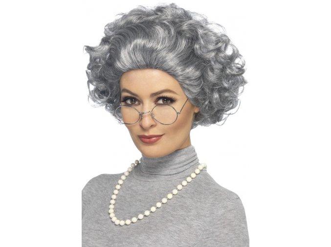 Šedá paruka Babička + brýle a korále