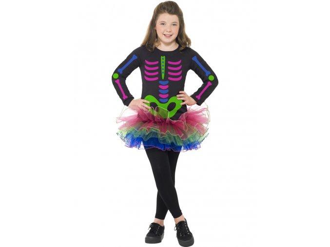 Dětský kostým neonová kostlivka