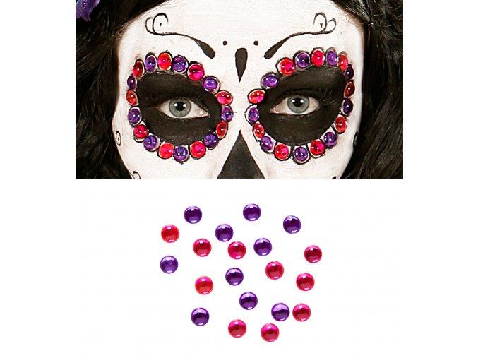 Nalepovací kamínky Sugar Skull (růžové, fialové)