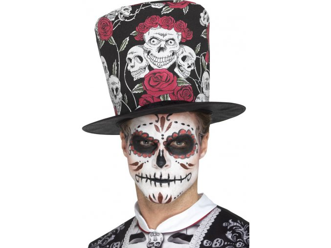 Klobouk s růžemi a lebkami Sugar Skull