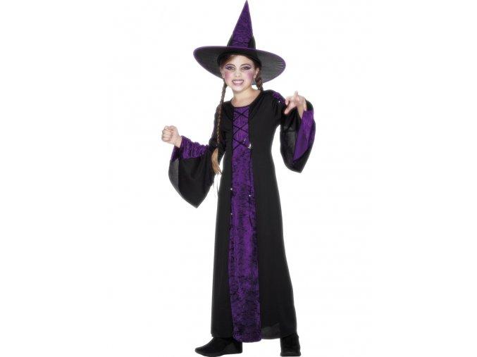 Dětský kostým Čarodějnice černo-fialový