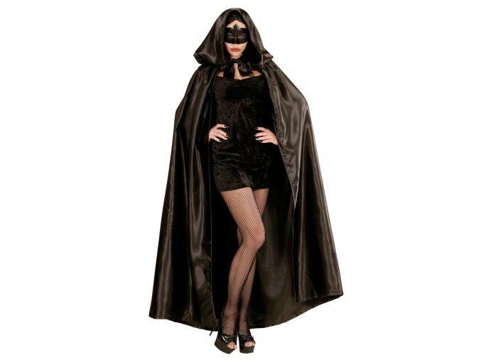 Černý plášť s kapucí deluxe