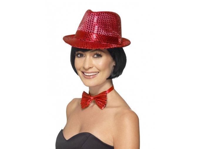 Flitrový klobouk červený