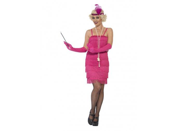 Růžové šaty s třásněmi 30.léta