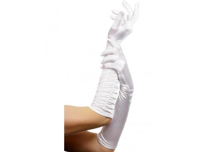 Dlouhé rukavice bílé nařasené