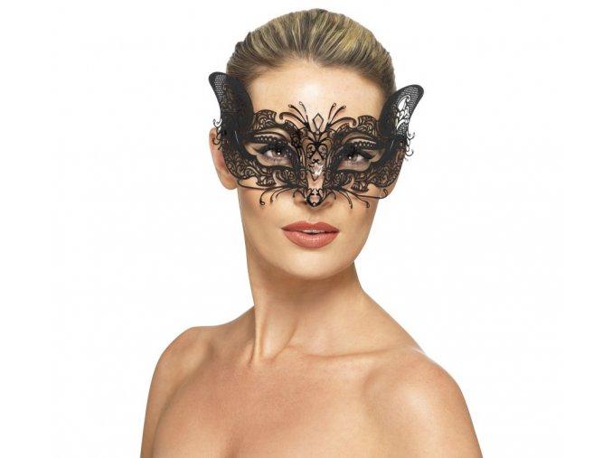 Černá kovová škraboška Cat