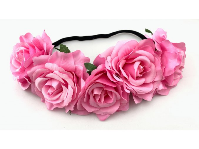 Květinová čelenka růže růžová