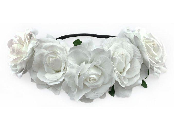 Květinová čelenka růže bílá