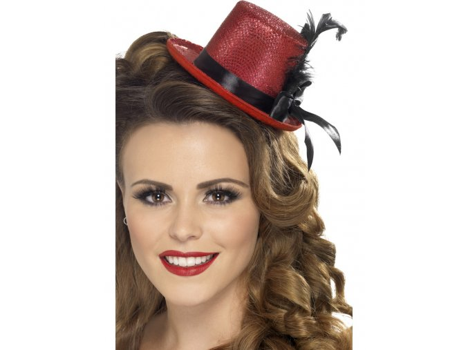 Mini klobouk s peřím červený
