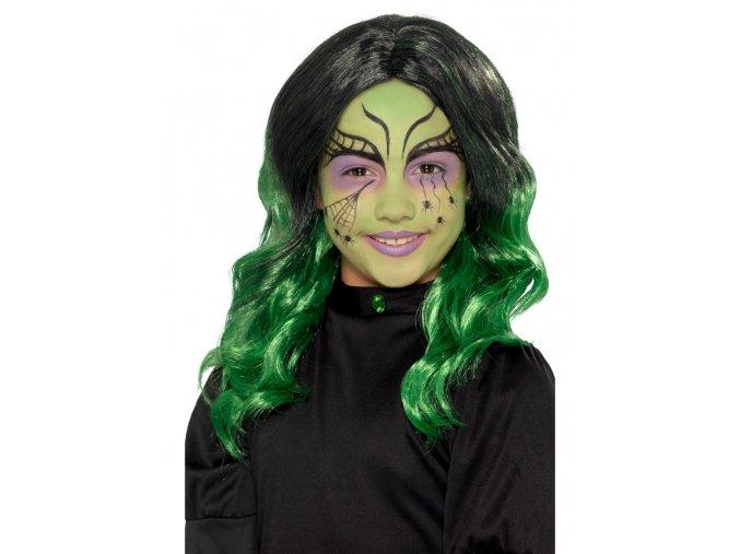 Dětská zelená paruka Čarodějnice