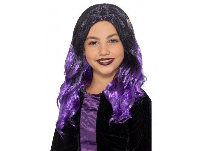Dětská fialová paruka Čarodějnice