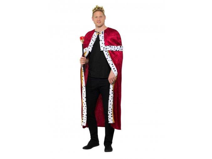 Královský hermelínový plášť s korunou a žezlem