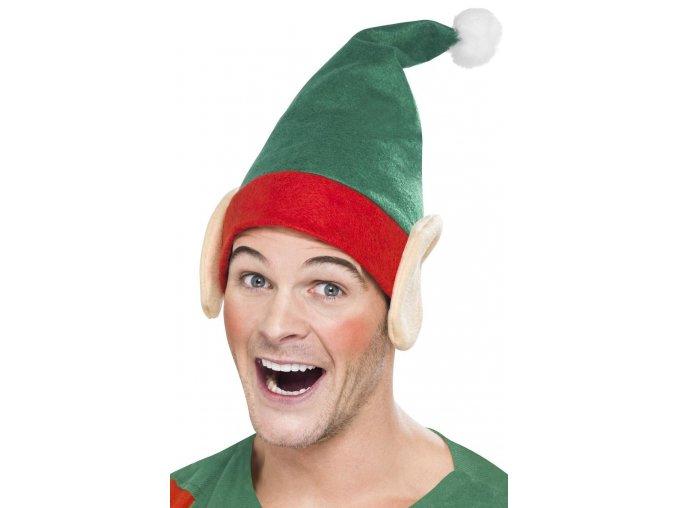 Zelená čepice Elf s ušima