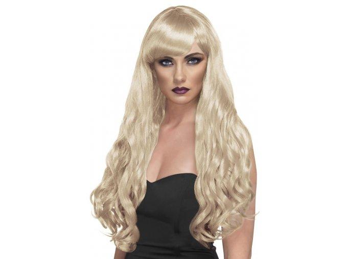 Dlouhá blond paruka s ofinou a kudrlinami