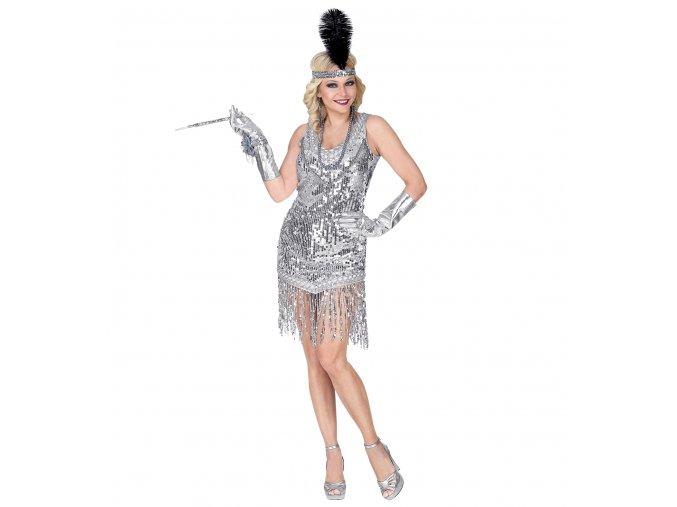 Dámské flitrové šaty stříbrné