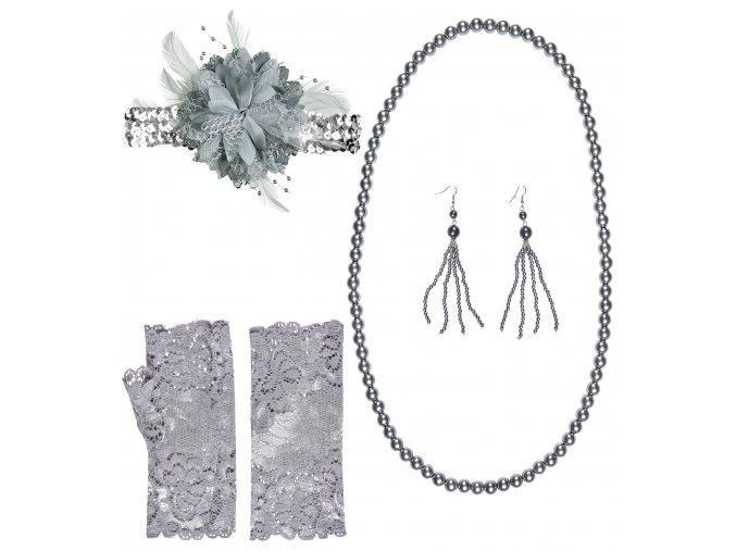 Charleston sada (náušnice,náhrdelník,rukavičky,čelenka)