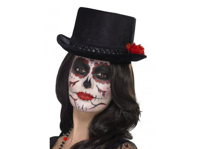 day of the dead top hat black with roses 2000x