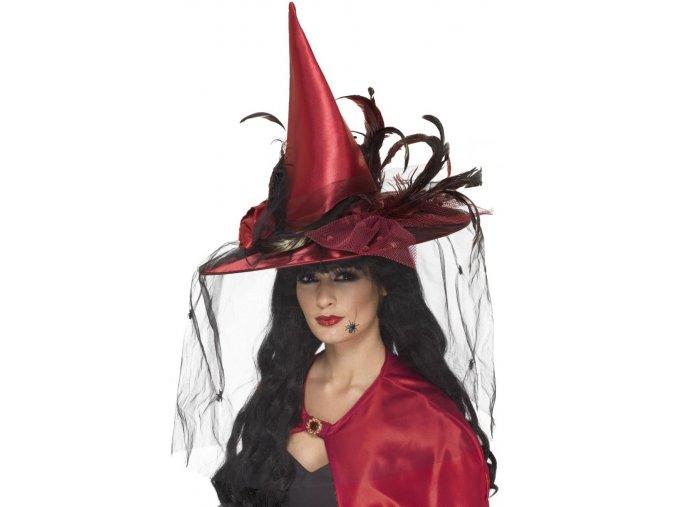 Čarodějnický vínový klobouk se závojem