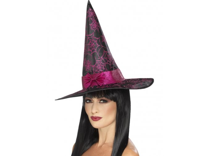 Čarodějnický klobouk s růžovými pavučinami a mašlí