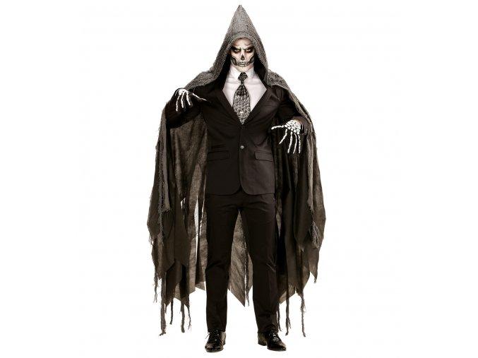 Šedý potrhaný plášť s kapucí  (165cm)