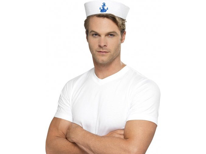 Čepice americký námořník bílá s kotvou