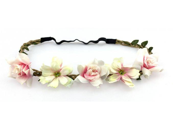 Květinová čelenka s růžemi Světle růžová