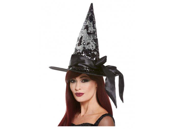 Čarodějnický klobouk s černými flitry a stuhou