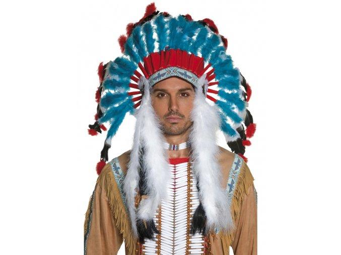 Indiánská čelenka Náčelník - modrá