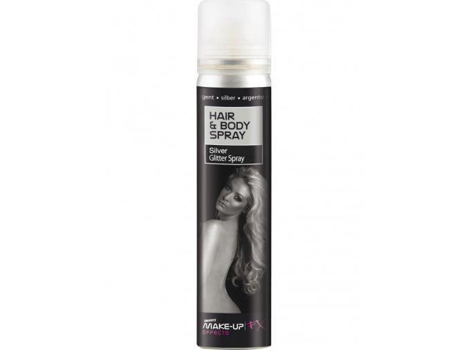 Stříbrné třpytky ve spreji na tělo a vlasy