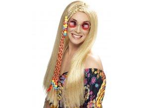Dámská paruka Hippies blond s korálky