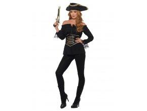 Dámská pirátská košile černá deluxe