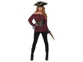 Dámská pirátská košile vínová Deluxe