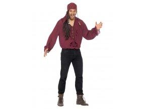 Pirátská košile vínová