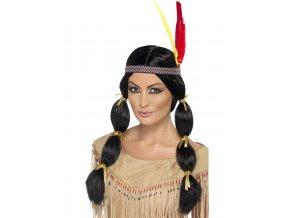 Černá paruka Indiánka