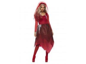 Dámský kostým hrobová nevěsta (červená)