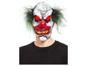 Latexová maska ďábelský klaun (svítítcí oči)