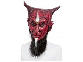 Latexová maska s vousy ďábel