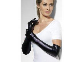 Rukavice dlouhé černé lesklé