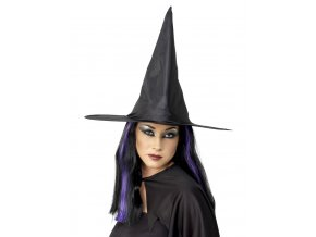 Čarodějnický klobouk černý lesklý