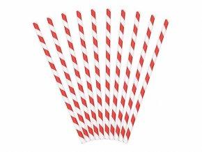 Papírová brčka červená, 10ks