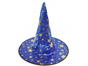 Modrý čarodějnický klobouk s hvězdami