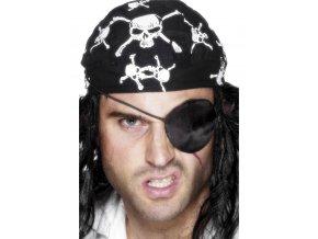 Pirátská páska přes oko černý satén