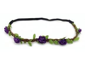 Květinová čelenka fialová